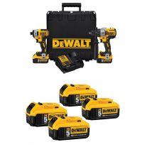 DeWalt (Compre el kit combinado Obtenga (2) 2 paquetes de baterías gratis)